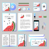 Vector stationery template design with watermelon elements. Corporate identity business set design. Vector stationery template design with watermelon elements Stock Photo
