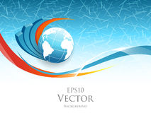 Vector statistic concept. Illustration with globe and bar graphs. Template for your design. Eps10 Stock Image