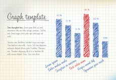 Vector statistics handdrawn column vertical graph template. For your infographics Royalty Free Stock Photo