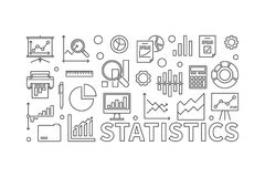 Vector statistics line vector illustration. Vector statistics line illustration. Vector concept banner made with statistics icons on white background Stock Photo