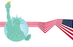 Vector - Statue of Liberty and USA flag Stock Images