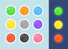 Vector Status Icon Set on dark and light backgrounds. in cartoon style - State Signs Round Form. Vector Status Icon Set on dark and light backgrounds. in stock illustration