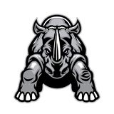 Steady angry rhino mascot. Vector of steady angry rhino mascot royalty free illustration