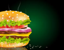 Vector steaming cheeseburger. On a green background and scattered with sesame seeds royalty free illustration