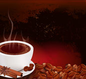Vector steaming cup of coffee with cinnamon Stock Images