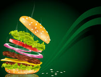 Vector steaming hamburger with cheese, onion Royalty Free Stock Photography