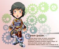 Steampunk character in cartoon style. stock illustration