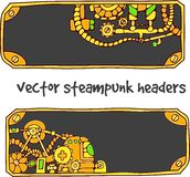 Vector steampunk headers. For design of sites Stock Image