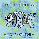 Vector steampunk mechanical metallic cute fish on clock background, can be used as fashion print for t shirt for boys, pattern,