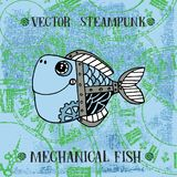 Vector steampunk mechanical metallic cute fish on clock background, can be used as fashion print for t shirt for boys, pattern