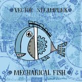 Vector steampunk mechanical metallic cute fish on clock background, can be used as fashion print for t shirt for boys