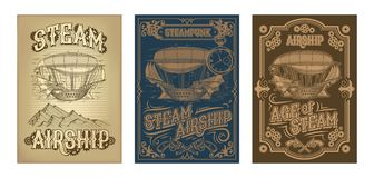 Vector steampunk posters with fantastic wooden flying ship Royalty Free Stock Photos