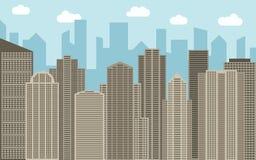 Vector stedelijke landschapsillustratie Straatmening met bruine cityscape, wolkenkrabbers en moderne gebouwen bij zonnige dag Stock Foto's
