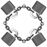 Vector steel chain with locks Royalty Free Stock Photos