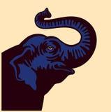 Vector steigende Schnauzenhauptillustration des Elefanten auf weißem Hintergrund Stockbild