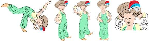 5 vector stellen een kleine jongen in oostelijke kostuumSultan voor Stock Afbeelding