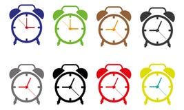 Vector Stempeluhr-Ikonen, Illustration von Weckern auf Weiß Lizenzfreies Stockfoto
