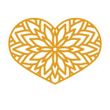 Vector Stencil lacy heart with carved openwork pattern. Template. For interior design, layouts wedding invitations, gritting cards, envelopes, decorative art Royalty Free Stock Image