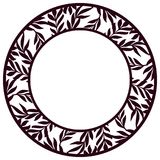 Vector Stencil lacy round frame with carved floral openwork patt. Ern with leaves. Lace-bordered  circle template for interior design, layouts wedding cards Stock Photo