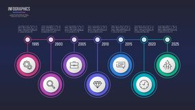 Vector 7 steps infographic design, timeline chart,. Presentation template. Global swatches Stock Photo
