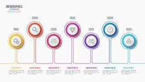 Vector 7 steps infographic design, timeline chart. Presentation template on white background. Global swatches Stock Photo