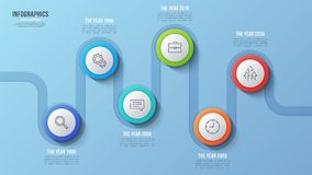 Vector 6 steps timeline chart, infographic design, presentation. Template. Global swatches Royalty Free Stock Photography