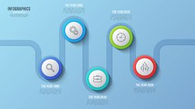 Vector 5 steps timeline chart, infographic design, presentation. Template. Global swatches Royalty Free Stock Photography