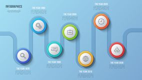 Vector 7 steps timeline chart, infographic design, presentation. Template. Global swatches Stock Photo
