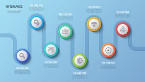 Vector 8 steps timeline chart, infographic design, presentation. Template. Global swatches Stock Image