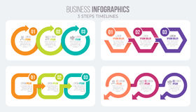 Vector 3 steps timeline infographic template with arrows. Four illustrations set Vector Illustration