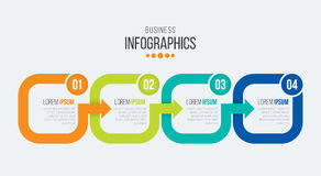 Vector 4 steps timeline infographic template with arrows Royalty Free Stock Photos