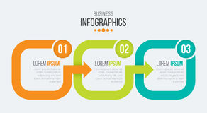 Vector 3 steps timeline infographic template with arrows Royalty Free Stock Photography