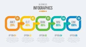 Vector 5 steps timeline infographic template with arrows Stock Image