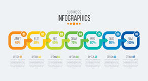 Vector 7 steps timeline infographic template with arrows Stock Image