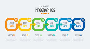 Vector 6 steps timeline infographic template with arrows Royalty Free Stock Photo