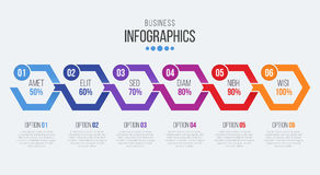 Vector 6 steps timeline infographic template with arrows Royalty Free Stock Photos