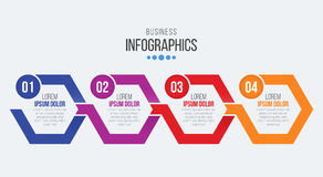 Vector 4 steps timeline infographic template with arrows. Vector illustration Royalty Free Illustration