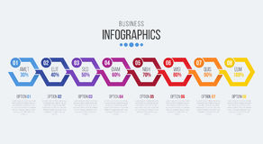 Vector 8 steps timeline infographic template with arrows. Vector illustration Stock Illustration