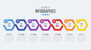Vector 7 steps timeline infographic template with arrows. Vector illustration Vector Illustration