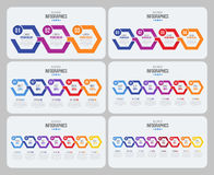 Vector steps timeline infographic template with arrows. Vector illustration set Royalty Free Stock Photography