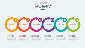 Vector 6 steps timeline infographic template with circular arrow Royalty Free Stock Photo