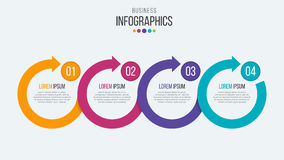 Vector 4 steps timeline infographic template with circular arrow. S Stock Illustration