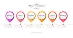 Vector 6 steps timeline infographic template. Vector illustration Royalty Free Illustration