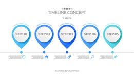 Vector 5 steps timeline infographic template. Vector illustration Royalty Free Illustration