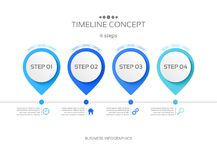 Vector 4 steps timeline infographic template. Vector illustration Stock Illustration