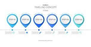 Vector 6 steps timeline infographic template. Vector illustration Stock Illustration