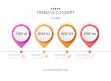 Vector 4 steps timeline infographic template. Vector illustration Vector Illustration