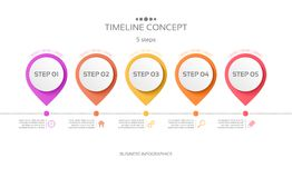 Vector 5 steps timeline infographic template. Vector illustration Vector Illustration