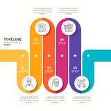 Vector 5 steps winding colorful timeline infographic template Stock Photography