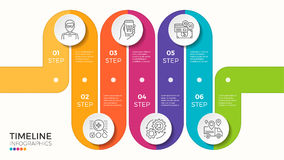 Vector 6 steps winding colorful timeline infographic template Royalty Free Stock Photos